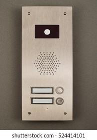 Entrance door intercom on gray background