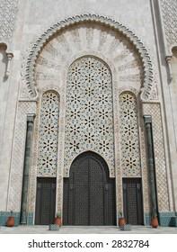 Entrance door, King Hassan II mosque Casablanca, Morocco