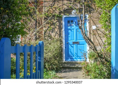 Entrance door of traditional British house on a sunny spring morning
