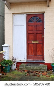 The entrance door of traditional English house