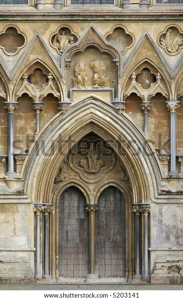 Entrance door of Wells Cathedral in Somerset, England