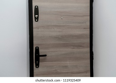 Entrance door/New steel entrance door with wood texture finish handle and lock.