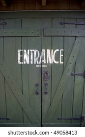 entrance doors to a horse stable, staff only.