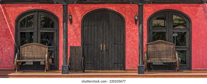 Entrance Doorway And Windows At Mexican Restaurant In The Dominican Republic