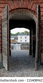 Entrance to dry dock in Suomenlinna, an island fortress in the Gulf of Finland, protecting the capital city of Helsinki. Suomenlinna is an UNESCO World Heritage Site.