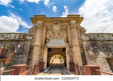 Entrance of El Castillo de los Tres Reyes Magos del Morro (Morro Castle), is a fortress guarding the entrance to Havana bay, Havana, Cuba.