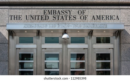 An entrance to the Embassy of the United States of America in Ottawa, Ontario, Canada.