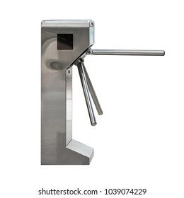 Entrance or exit turnstile tripod and ticket reader isolated on white background