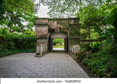 The entrance of the Fort Gate at Fort Canning Park, Singapore