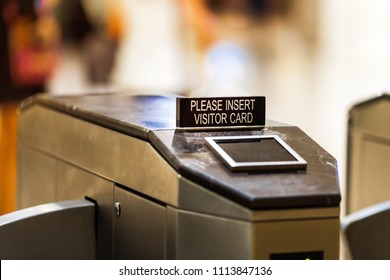 Entrance gate access control space, Required card for all visitors. Security system office building.