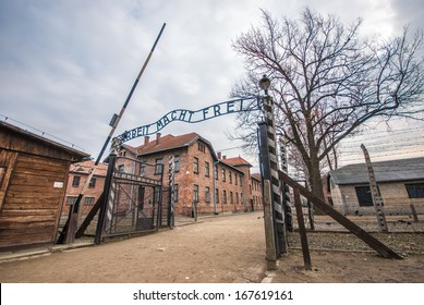 Entrance gate to Auschwitz concentration camp, Poland