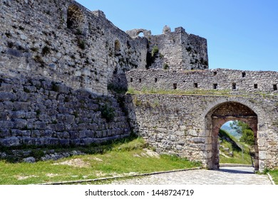 Entrance gate to the Berat Castle (Albanian: Kalaja e Beratit), a fortress overlooking the town of Berat, Albania. The albanian ancient city of Berat, designated a UNESCO World Heritage Site.