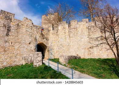 Entrance gate into Celje castle in old town in Slovenia. Architecture in Slovenija. Travel