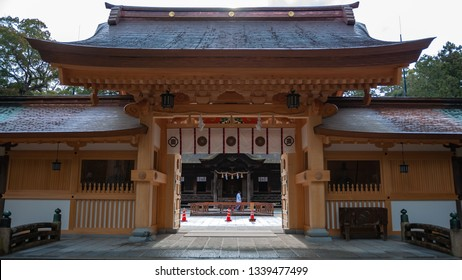 The entrance gate of Oyamazumi Shrine in Omishima Island, which is the oldest shrine in Ehime Prefecture, the head shrine of Yamazumi and Mishima shrines across the country.