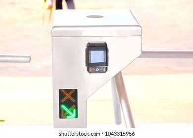 the entrance gate turnstiles ,the check point with automatic counting machine