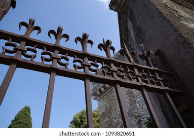 Entrance gate in wrought iron at the castle of Sermoneta in Italy