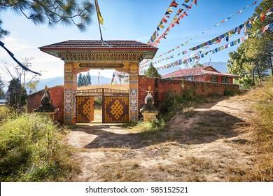 Entrance gates to the tibetan buddhist monastery in Dakshinkali mountains