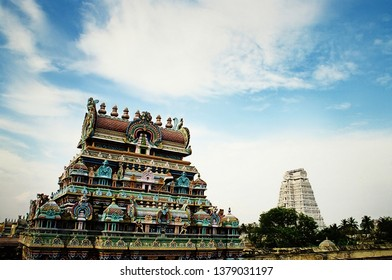 Entrance gateways or Gopuram in the Ranganathaswamy temple dedicated Shiva gog at Trichy in Tamil Nadu, India