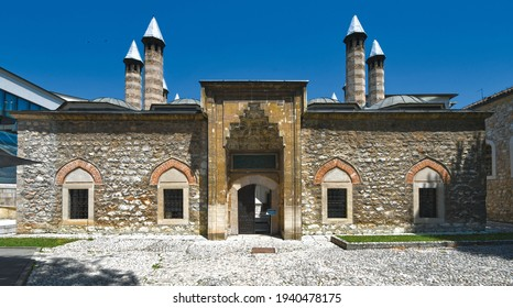 The entrance of Gazi Husrev-Beg Madrasa in Sarajevo, Bosnia and Herzegovina, 1 JULY, 2019. The oldest educational institution in Bosnia-Herzegovina.