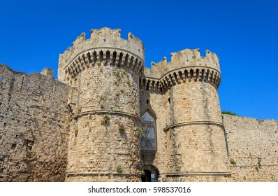 Entrance of Grand master of the knights of Rhodos, medieval castle of the hospitaller knights on the island Rhodos of Greece in Mediterranean sea