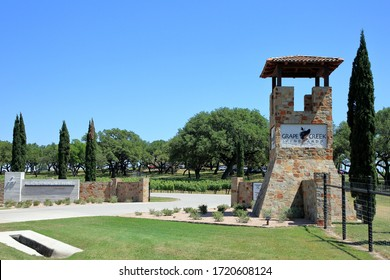 Entrance to Grape Creek Vineyards and Heath Sparkling Wines off of Highway 290 - Stonewall, Texas, USA - May 2, 2020