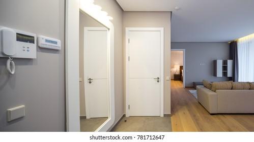 Entrance hall in modern apartment, corridor, flat.