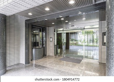 The entrance hall of a modern office building