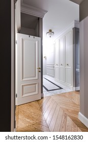 Entrance hallway in a modern apartment with a luxurious design: grey walls, built-in wardrobe, classic style