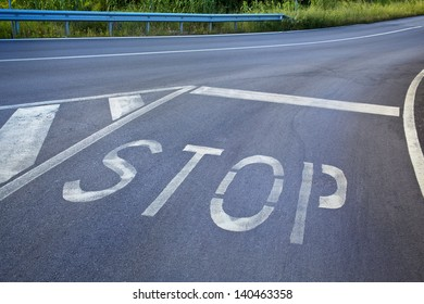 entrance to the highway with stop sign