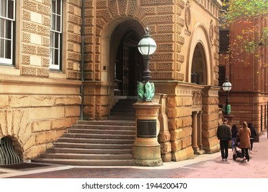 Entrance to a historic sandstone heritage listed building in the city. The former Treasury Building is now part of the Intercontinental Hotel.