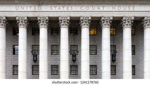 Entrance to the historic United States Court House in Manhattan, New York City