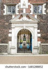 Entrance to the historic Whitgift Almshouses in the centre of Croydon, London.  Built in Elizabethan times as homes for the poor they are still in operation.