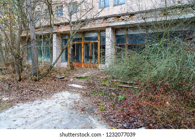 Entrance to hospital № 126, abandoned ghost town Pripyat, Chernobyl NPP alienation zone, late autumn, Ukraine