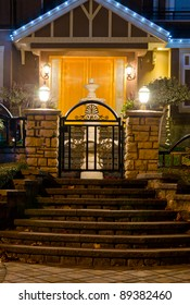 Entrance of a house at dusk in Vancouver, Canada