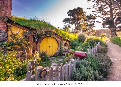 Entrance to the house with round door at the Hobbiton, New Zealand. The place where hobbits live in their holes. Matamata, New Zealand - January 14 2018.