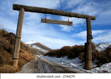 Entrance to Idaho ranch in winter