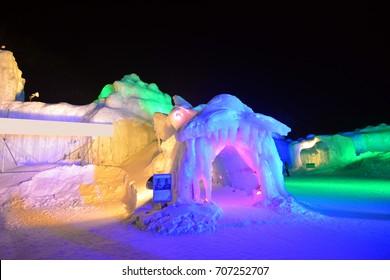 Entrance of Illuminated ice cave in Snow Festival Sapporo, Hokkaido, japan.