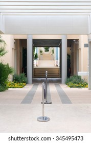 Entrance into the modern hotel or apartment.