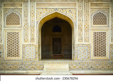 Entrance to Itimad Ud Daulah's tomb in Agra, Uttar Pradesh, India. Also known as the Jewel Box or the Baby Taj.