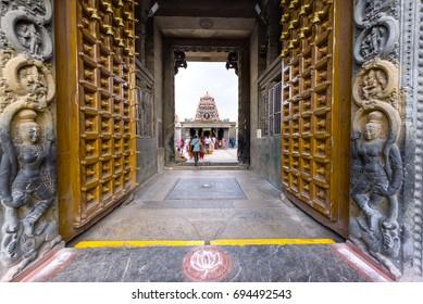 Entrance of Kapaleeswarar temple in Chennai, Tamil Nadu, India