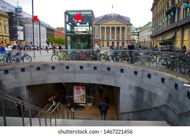 Entrance of the Kongens Nytorv metro station, Copenhagen, Denmark, 05.09.2018