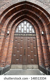 Entrance to  Kristus kyrkan in Helsinki, it was completed in 1928 and is part of the Helsinki Swedish-speaking Methodist church