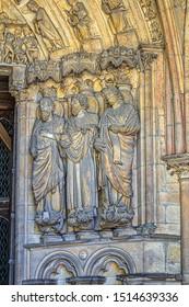 Entrance to Le Mans Notre-Dame de la Couture (Eglise de la Couture, XII century). Notre-Dame de la Couture - formerly abbey church of Saint-Pierre de la Couture. Le Mans, Pays-de-la-Loire, France.