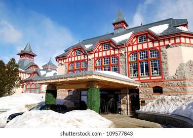 Entrance of the luxury hotel at Strbske Pleso ski resort, High Tatras, Slovakia