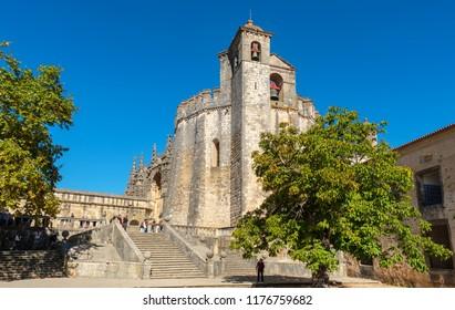 Entrance and main Church in the Convent of Christ (Convento de Cristo). Tomar, Ribatejo, Portugal