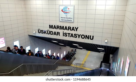 Entrance of MARMARAY Üsküdar Station - Subway that goes Asia to Europe side under Bosphorus - Oct 2 2018 / Istanbul Turkey