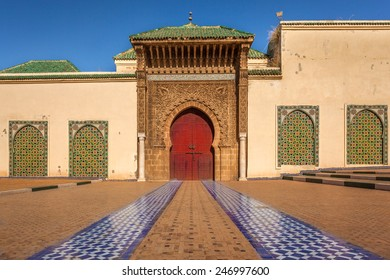 The entrance of the Mausoleum of Moulay Ismail, Meknes, Morocco