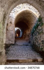 Entrance maze of Krak des Chevaliers, most famous Crusader castle,Syria