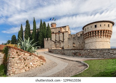 Entrance to the medieval castle of Brescia, Lombardy, Italy