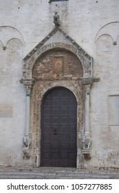 Entrance to medieval cathedral in Bari, Southern Italy